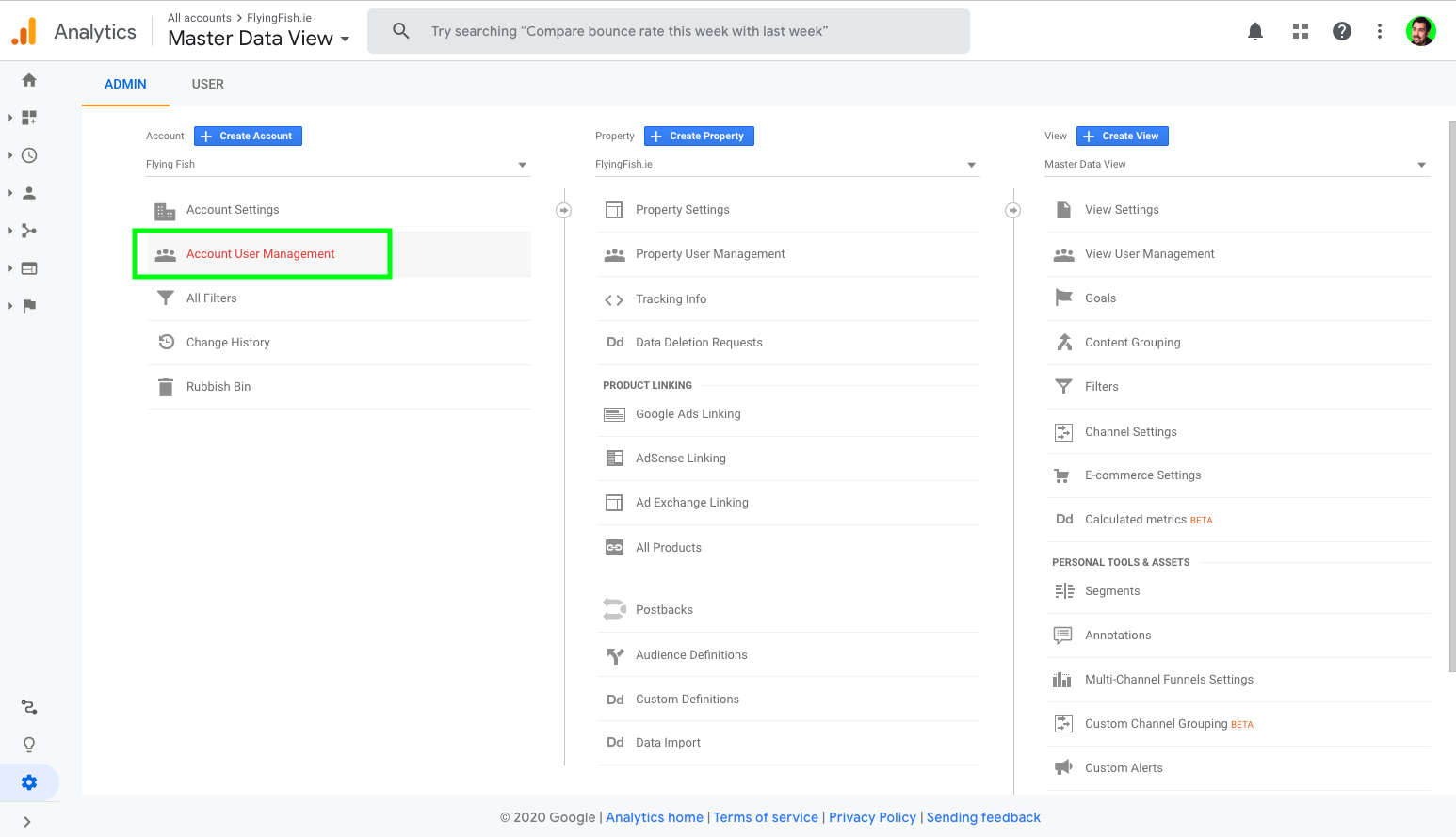 Google Analytics Open Account User Management screen