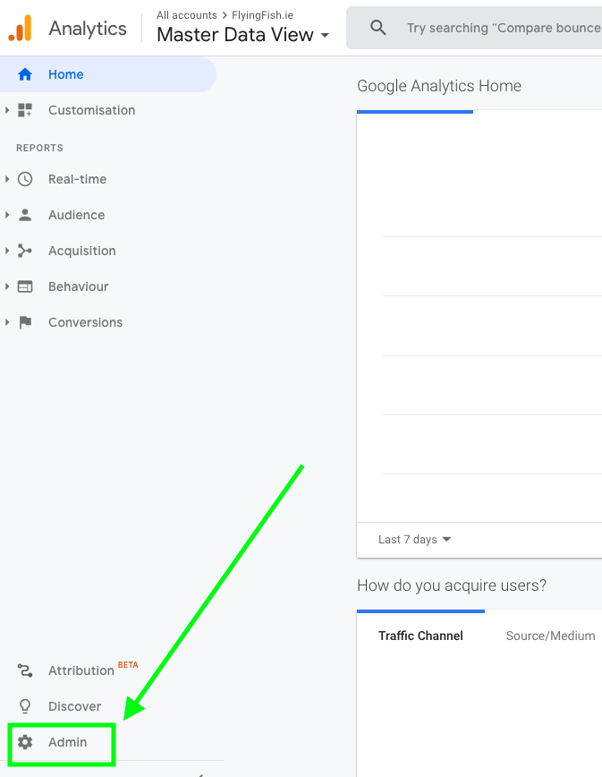 Google Analytics how to find admin area - screenshot of Google Analytics Dashboard